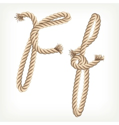 Rope alphabet Letter F vector image vector image