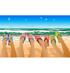 Row of Womens Legs Relaxing on the Beach vector