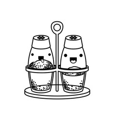 salt and pepper containers monochrome kawaii vector image