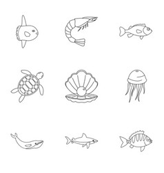 Sea nature icons set outline style vector