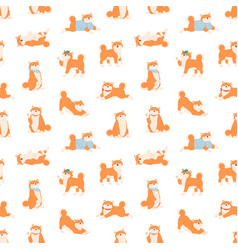 seamless pattern with funny shiba inu dogs vector image