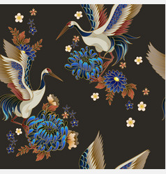 seamless pattern with mandarin ducks flowers and vector image