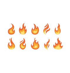 set bright burning flame and bonfire icons and vector image
