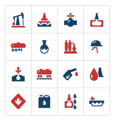 Set color icons of oil industry vector image