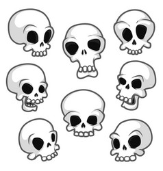 set eight skulls with different emotions vector image