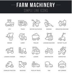 Set line icons farm machinery vector