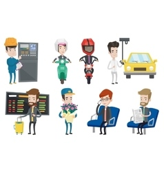 Set of industrial workers and people traveling vector image