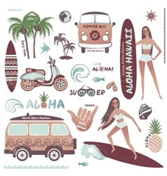 Set of vintage style Hawaiian summer icons surf vector