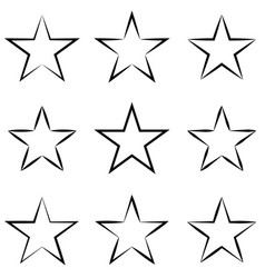 set stars with calligraphic outline stroke vector image