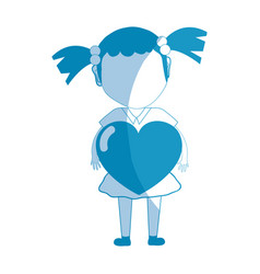 Silhouette pretty girl with heart in the hand and vector