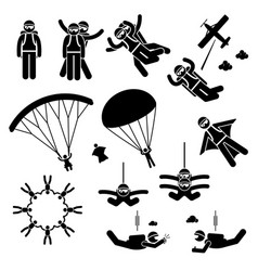 skydiving skydives skydiver parachute wingsuit vector image