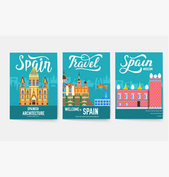 spain brochure cards set country template vector image