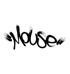 Sprayed mouse tag graffiti with overspray in black vector