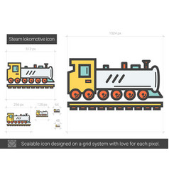 Steam locomotive line icon vector