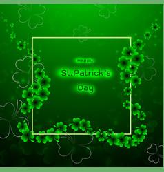Stpatricks day with shamrock on green vector