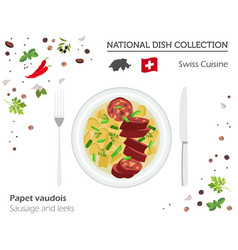 swiss cuisine european national dish collection vector image