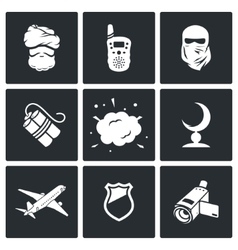 Terrorism icons vector image