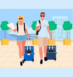 Travelers arrival tourists in airport vector