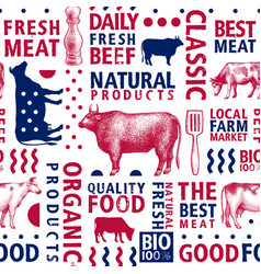 typographic butchery seamless pattern vector image