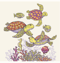 vintage sea life natural greeting card underwater vector image