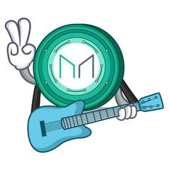 With guitar maker coin mascot cartoon vector