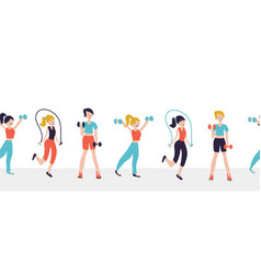 Women fitness workout exercises seamless vector