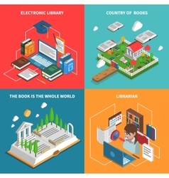 World Of Books Icons Set vector image