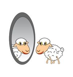 A funny cartoon sheep looking in a mirror vector image vector image