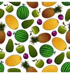 Fresh fruits seamless pattern for food design vector image vector image