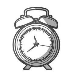 grayscale silhouette of alarm clock with thick vector image