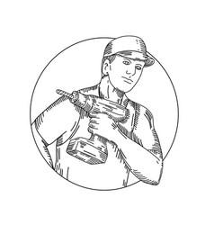 Handyman-cordless-drill-circ-mline vector