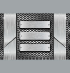 metal rectangle plates on perforated background vector image