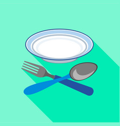 plate with fork and spoon icon flat style vector image