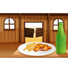 A table with a plate of food and a soda vector image vector image