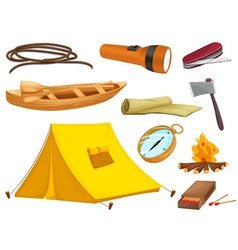 various objects of camping vector image vector image