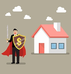 Businessman protecting house with shield and sword vector