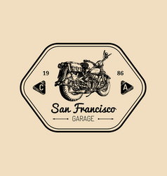 Custom garage logo hand drawn motorcycle vector