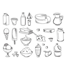 doodle dairy and milk products hand drawn vector image