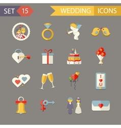 Flat Wedding Symbols Bride Groom Marriage vector image