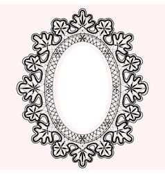 Lace oval frame vector image vector image