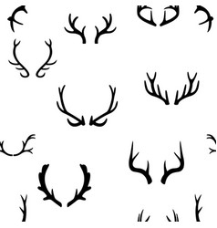 seamless pattern with deer antlers vector image