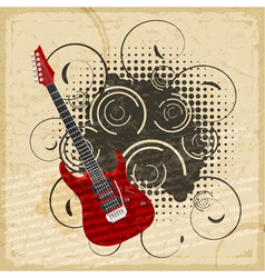 Vintage paper background of electric guitar vector image