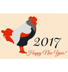 2017 New Year Colorful Greeting Card with Rooster vector image
