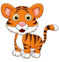 Cute baby tiger cartoon vector image