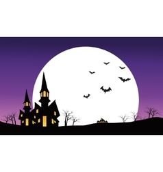 Halloween castle at night scenery silhouette vector