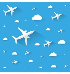 Planes in the cloudly sky vector image vector image