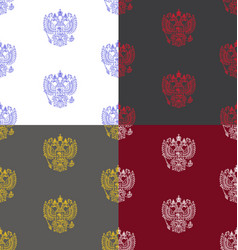 seamless patterns with russian coat of arms vector image