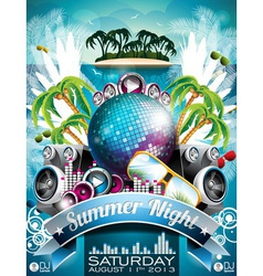 Summer beach party flyer design with disco ball vector