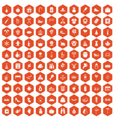 100 family tradition icons hexagon orange vector image