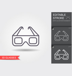 3d cinema glasses line icon with editable stroke vector